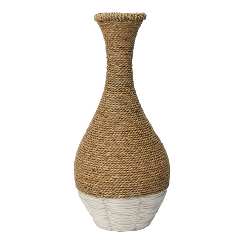 Stratton Home Decor Tan and White Woven Rattan Vase