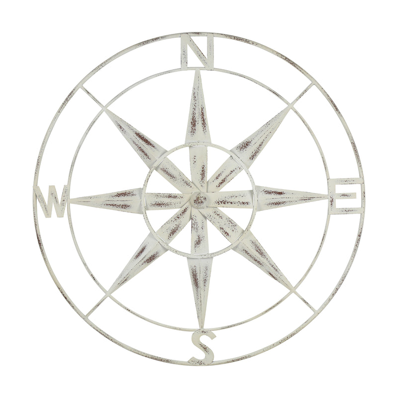Stratton Home Decor Distressed White Compass Wall Décor