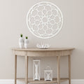 Stratton Home Decor Distressed White Wood Medallion Wall Decor