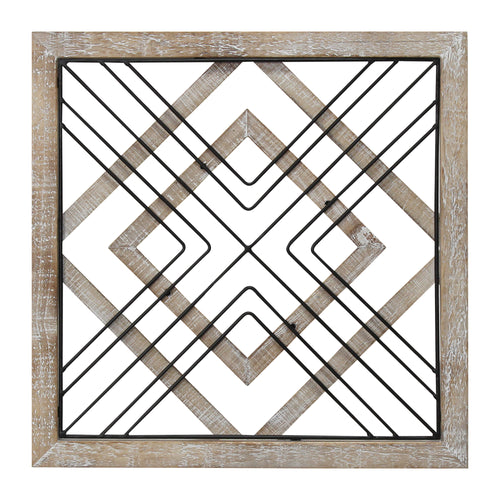 Stratton Home Decor Square Wood and Metal Geometric Plaque Wall Decor