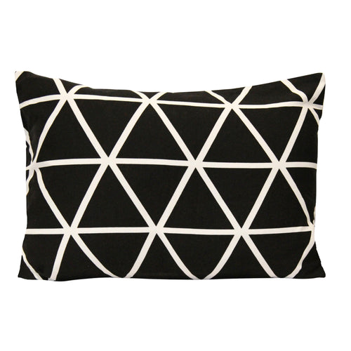 Stratton Home Decor Black and White Geometric Triangle Lumbar Pillow