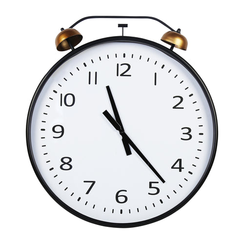Stratton Home Decor 24 Inch Twin Bells Wall Clock