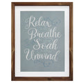 Stratton Home Decor Relax, Breathe, Soak, Unwind Framed Bath Art