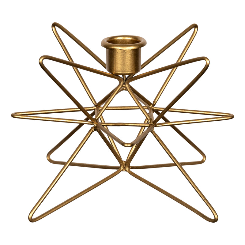 Stratton Home Decor Gold Geometric Star Candle Holder