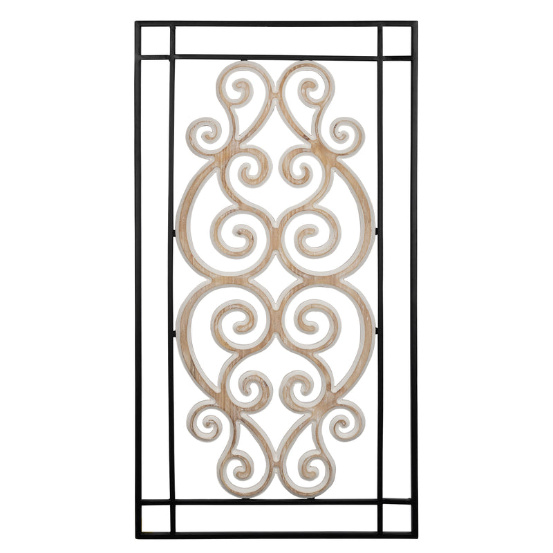 Stratton Home Decor Metal and Wood Scroll Panel Wall Decor