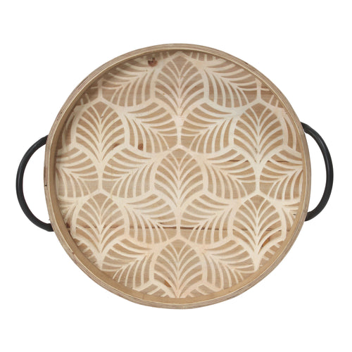 Stratton Home Decor Stamped Leaf Wood Tray