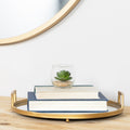 Stratton Home Decor Gold Round Tray with Mirror Inlay