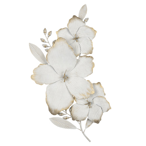 Stratton Home Decor Blooming White and Gold Metal Flower Wall Decor