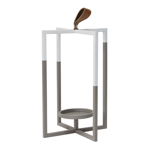 Stratton Home Decor Grey and White Short Metal Modern Farmhouse Lantern