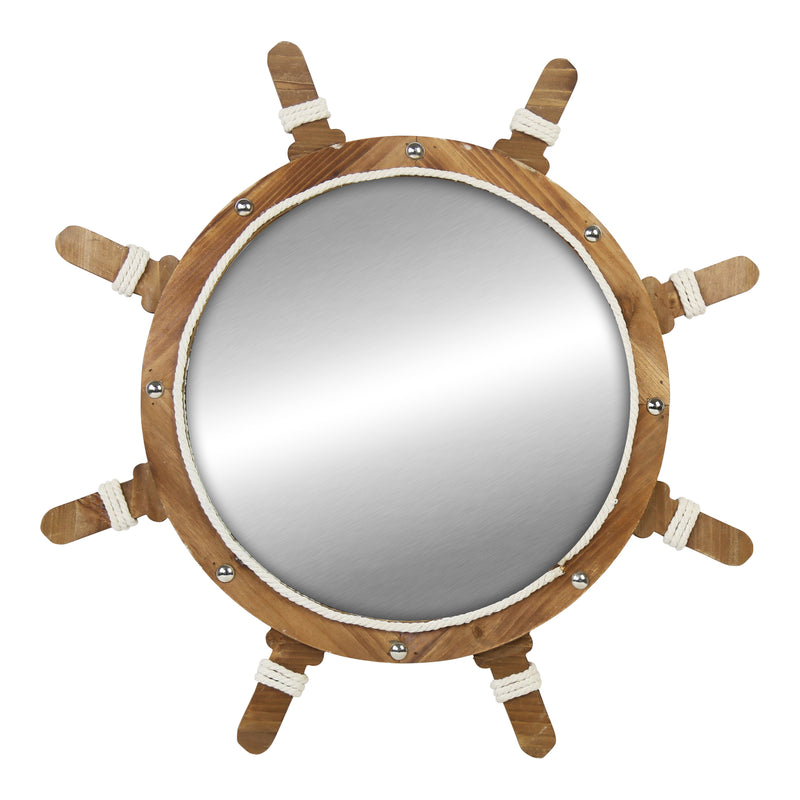 Stratton Home Decor Darlene Ship Wheel Wall Mirror