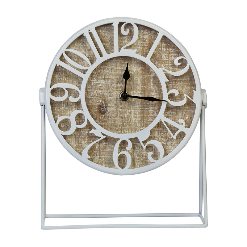 Stratton Home Decor Dominick Wood and Metal White Table Clock
