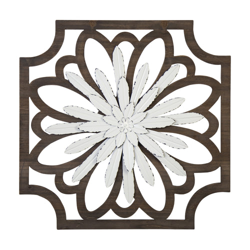 Stratton Home Decor White Flower Wood and Metal Wall Decor