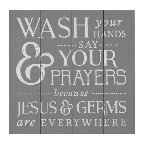 Stratton Home Decor Jesus and Germs Bathroom Wall Art