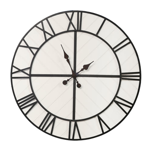 Stratton Home Decor Oversized 31 inch Henry Black and White Wood Wall Clock