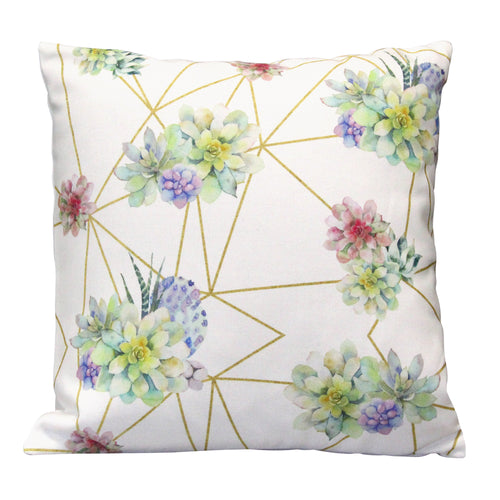 "Stratton Home Decor Succulent 18"" Square Pillow"
