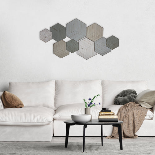 Stratton Home Decor Textured Hexagon Metal Centerpiece Wall Decor