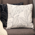 "Stratton Home Decor White Leaf Outline 18"" Square Pillow"