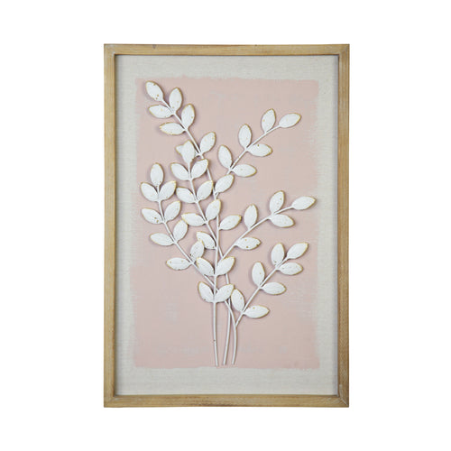 Stratton Home Decor Framed Pink Leaf Wall Art