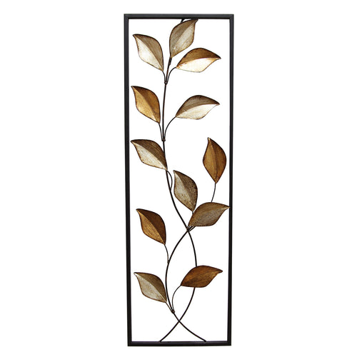 Stratton Home Décor Multi Metallic Leaves Panel Wall Décor