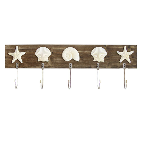 Stratton Home Décor Sea Shell Hooks Wall Décor