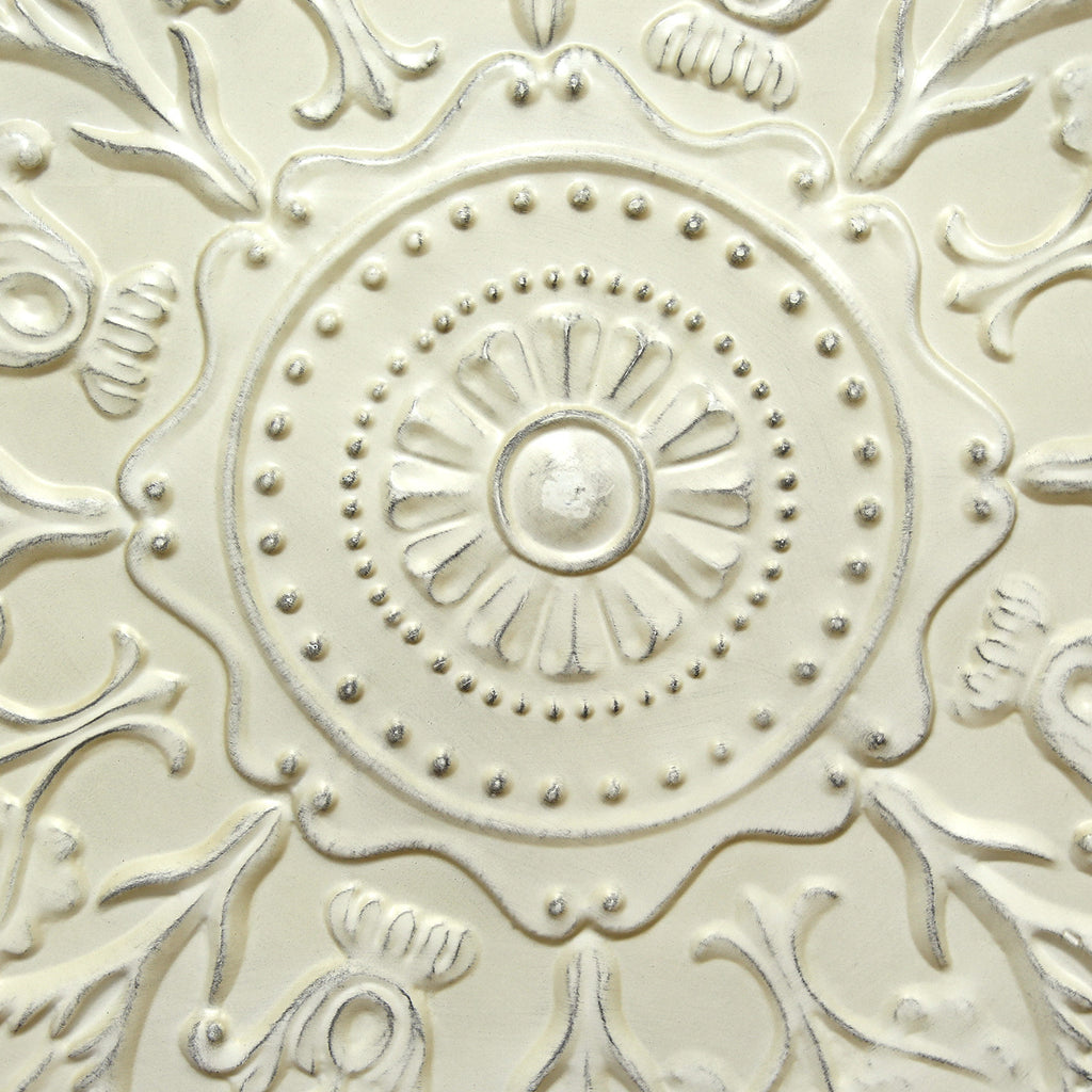 Stratton Home D Cor Shabby White Medallion Wall D Cor