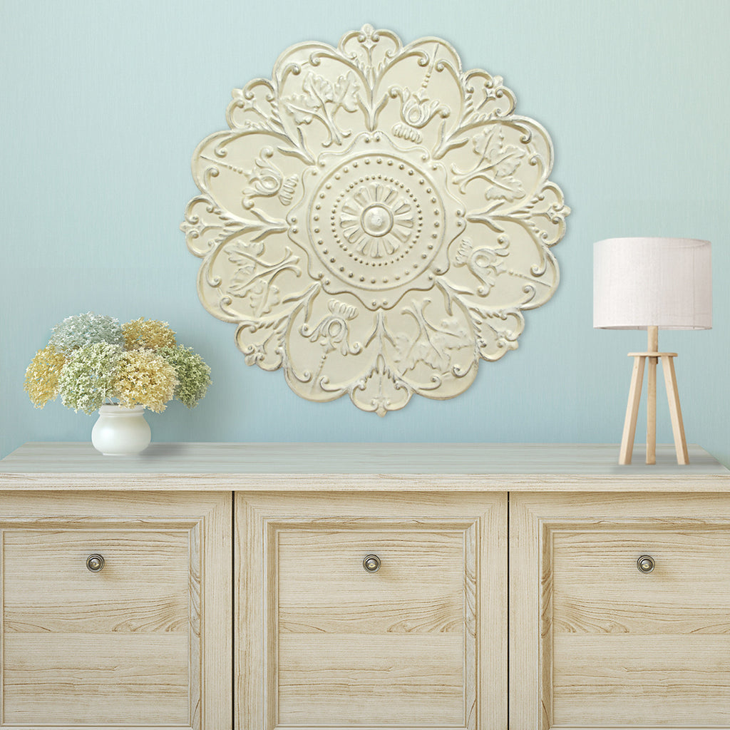 Stratton Home Décor Shabby White Medallion Wall Décor ...