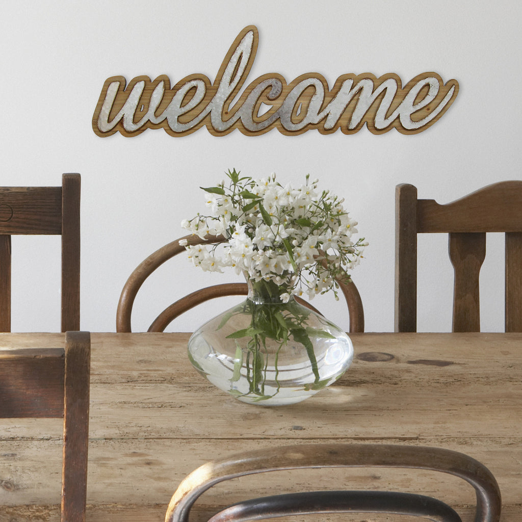 Home Decor Wall Signs: Wood And Metal Welcome Wall Art