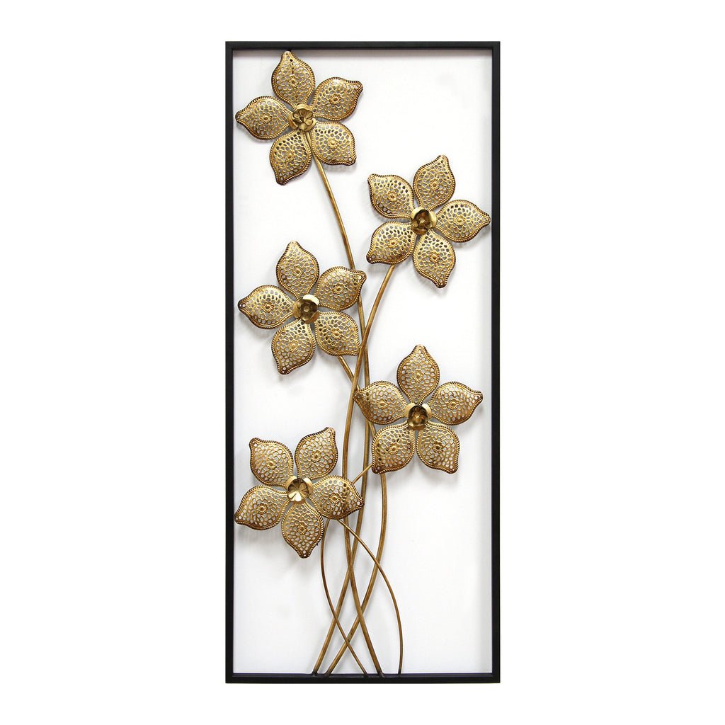Gold Lattice Flower Panel Stratton Home Decor