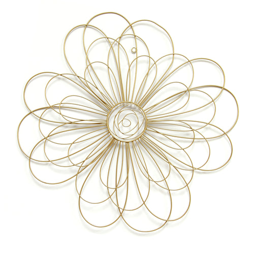 Gold Wire Flower Wall Décor