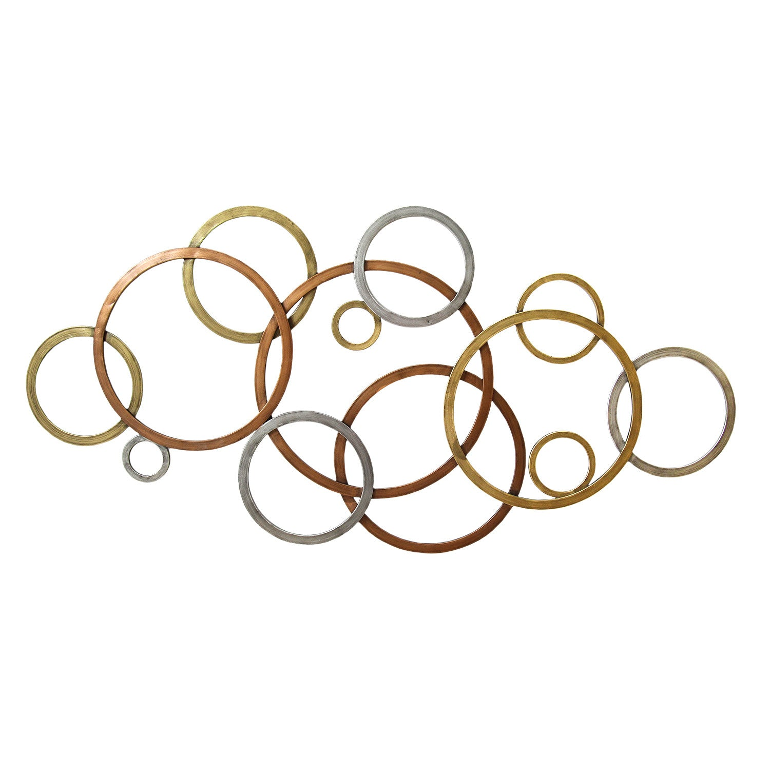 Metal Circle Wall Decor interlocking tri-color circles wall décor – stratton home decor
