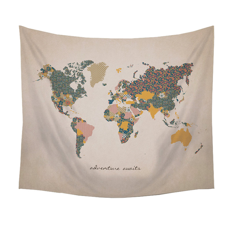 """Adventure Awaits"" Map Wall Tapestry"