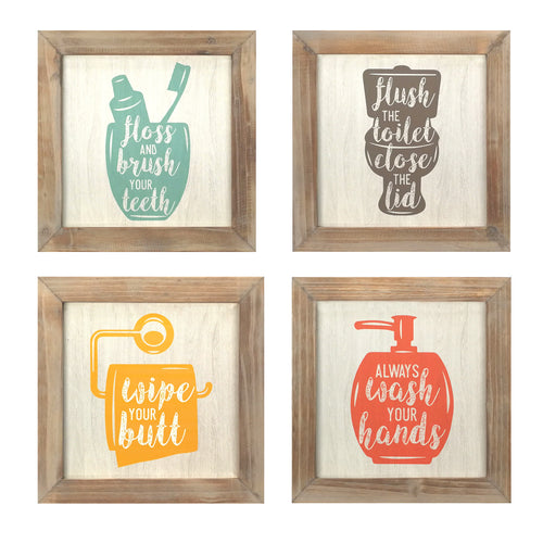 Set of 4 - Floss, Flush, Wipe, Wash Wall Art
