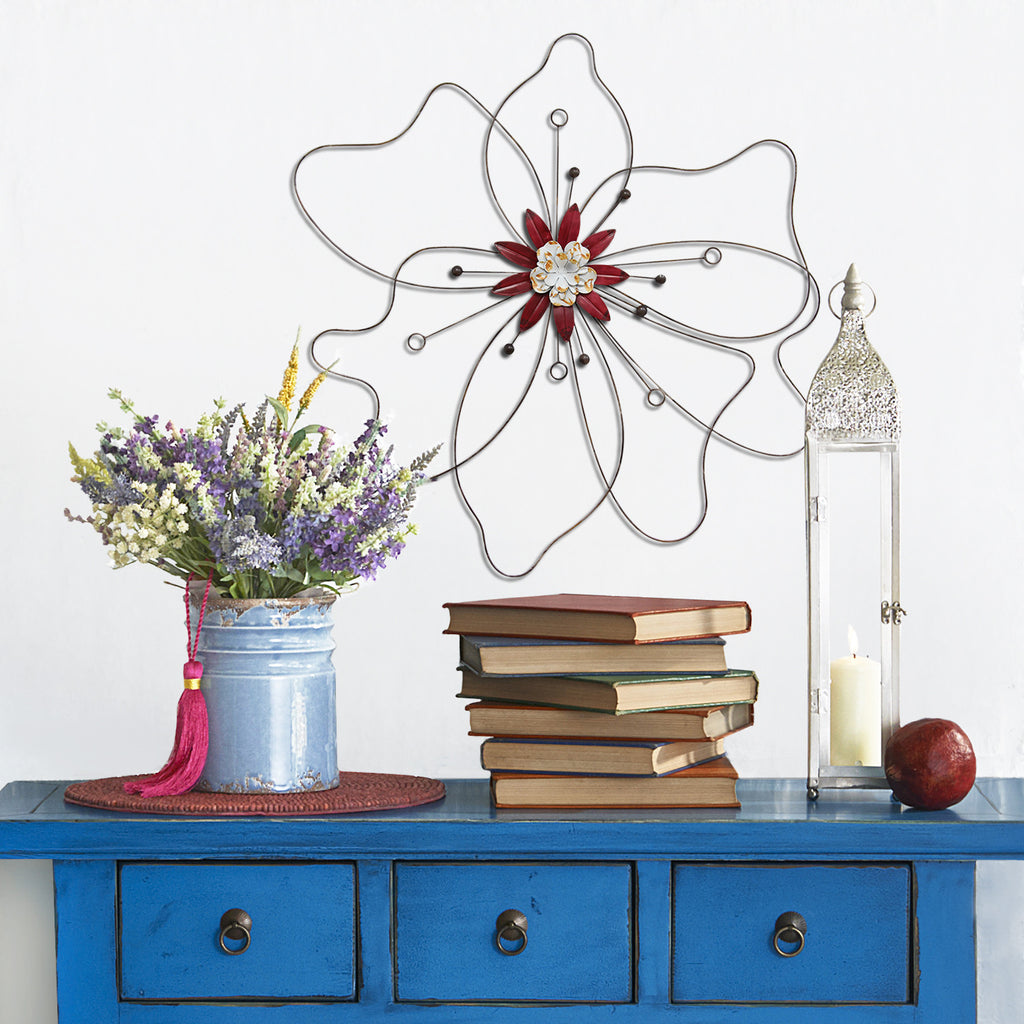 Flowers For Home Decor: Red Outlined Flower Wall Décor