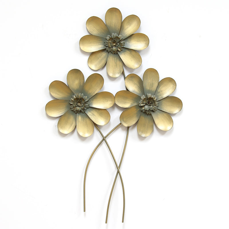 Stratton Home Decor Golden Flower Bouqet Wall Decor