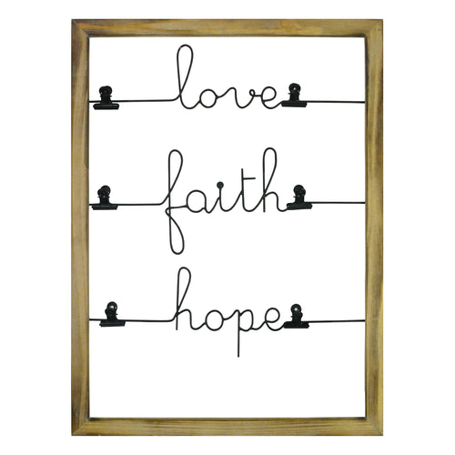Love, Faith, Hope Photo Clip Wall Decor