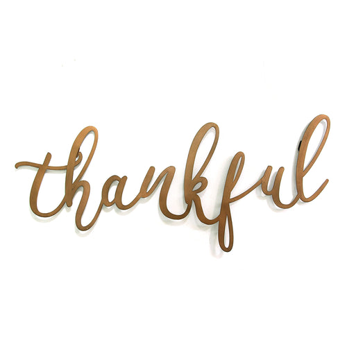 Bronze Thankful Script Wall Decor