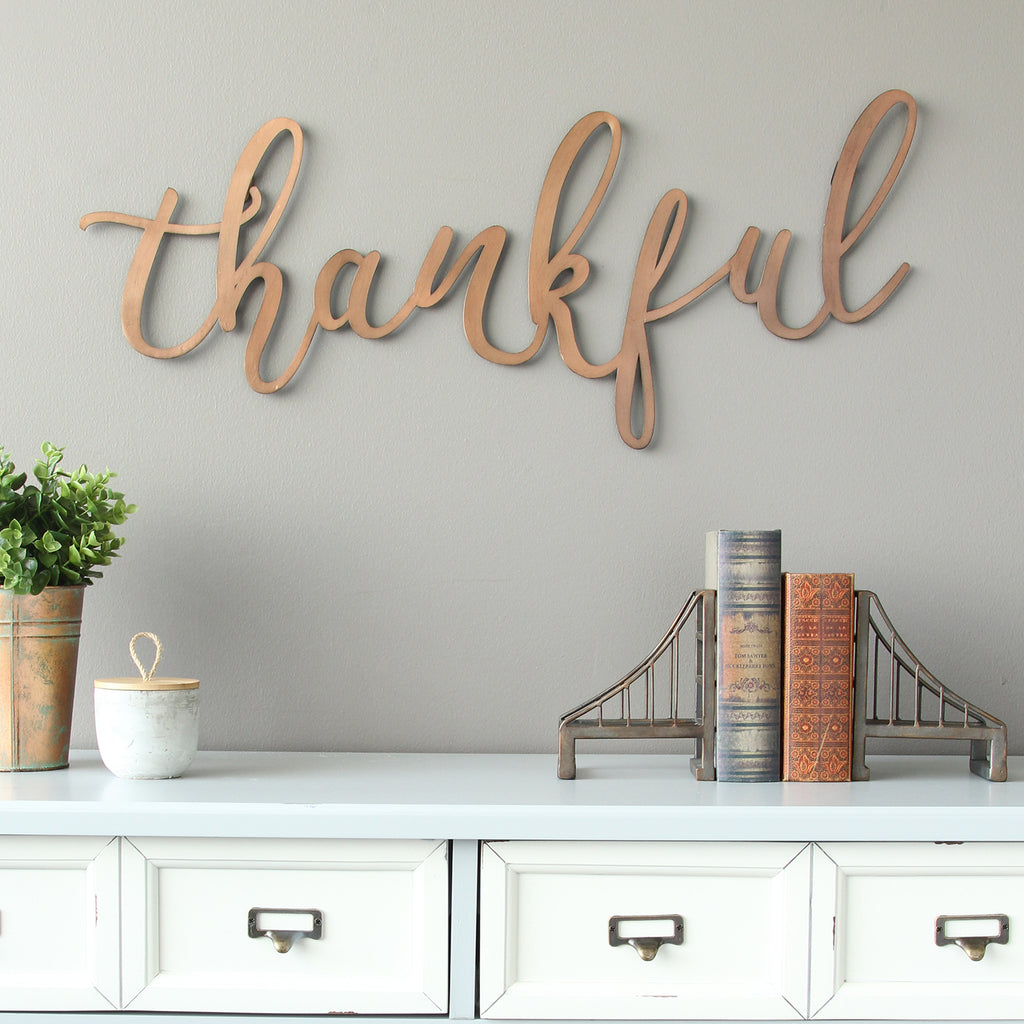 "Wall Decor For Home: Stratton Home Decor Bronze ""thankful"" Script Wall Decor"