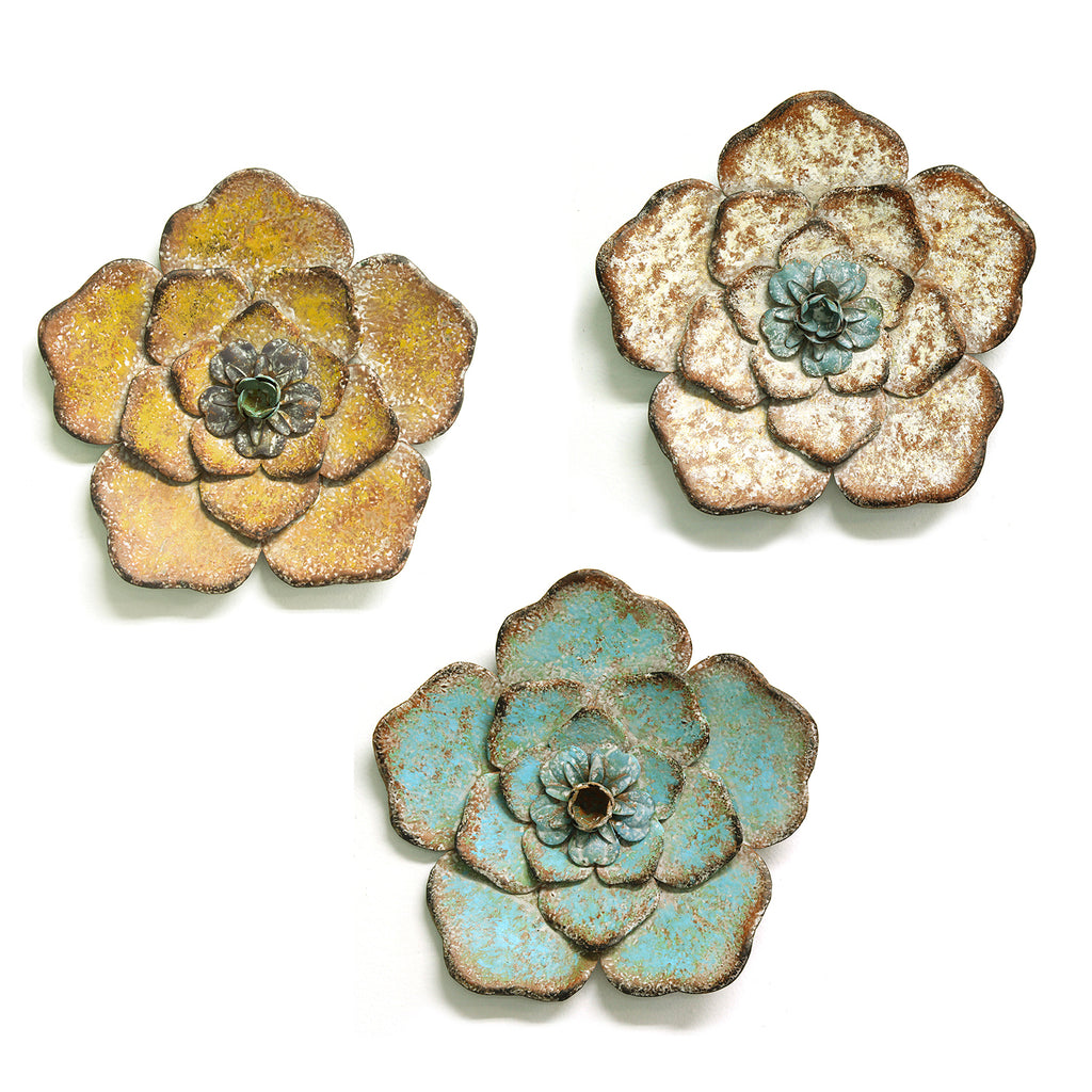 Art Décor: Stratton Home Decor Set Of 3 Rustic Flower Wall Decor