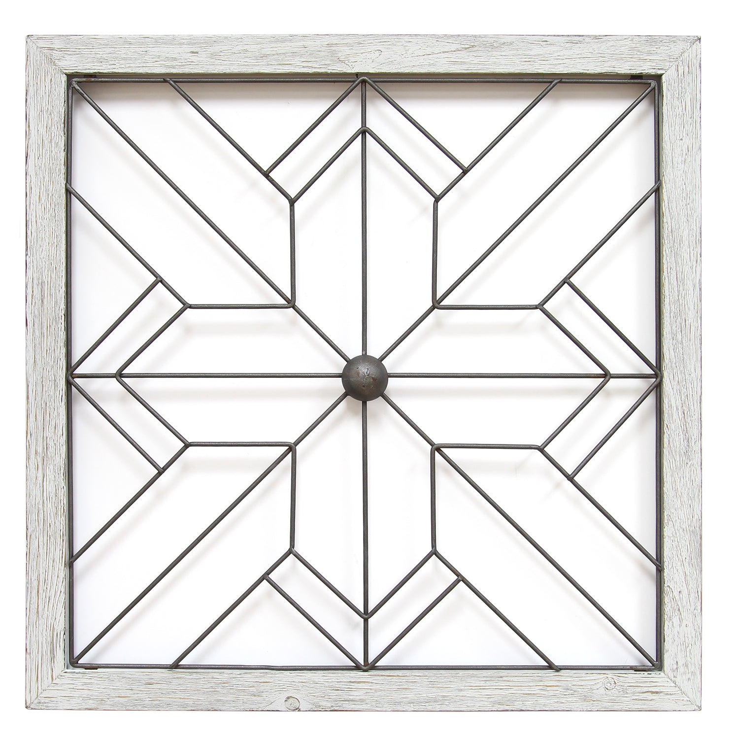 Square Metal And Wood Art Deco Wall Decor