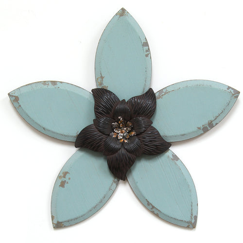Blue Antique Flower Wall Decor