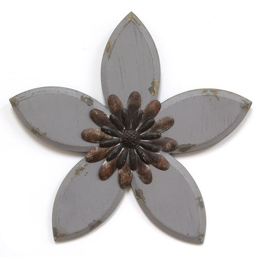 Grey Antique Flower Wall Decor