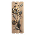 Antique Metal Flower Wood Plank Panel
