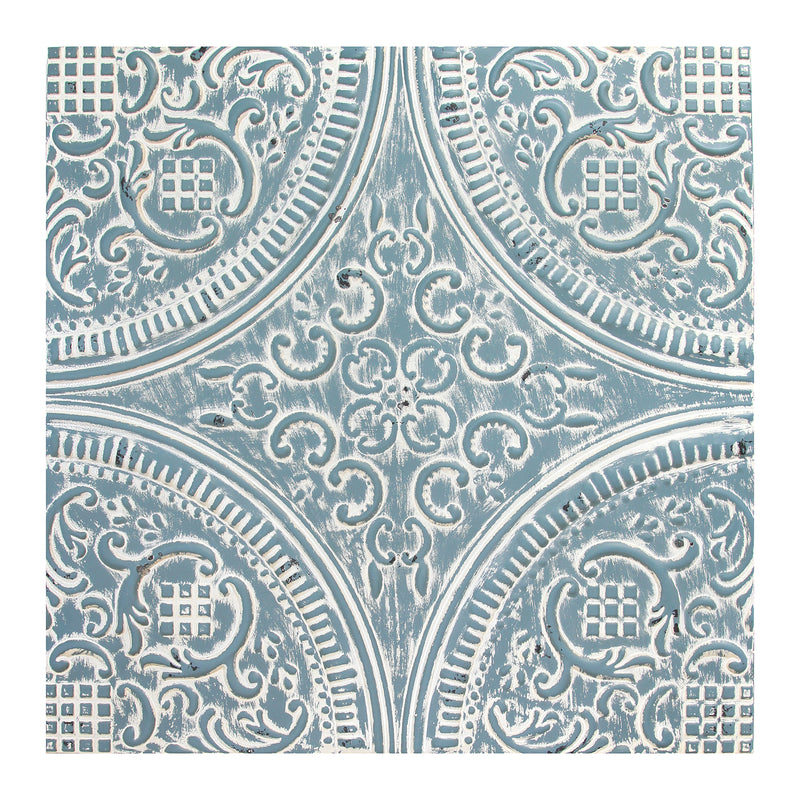 Distressed Blue Square Medallion Wall Décor