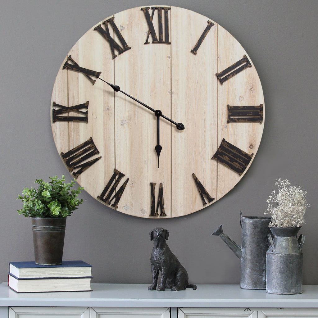 Distressed Home Decor: Distressed White Wood Wall Clock