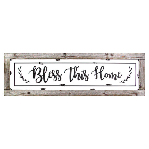 Bless This Home Framed Enamel Sign Wall Decor