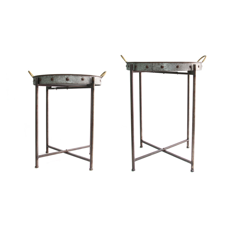 Set of 2 Metal Tray Tables