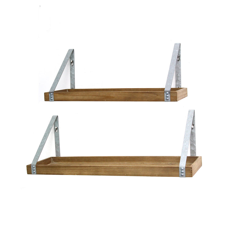 Set of 2 Wood & Metal Shelves