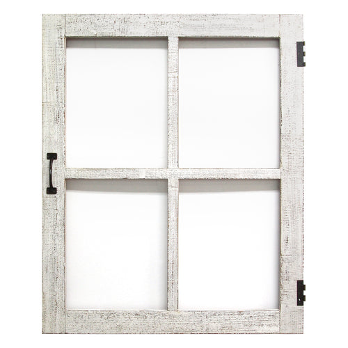 Distressed White Faux Window Pane