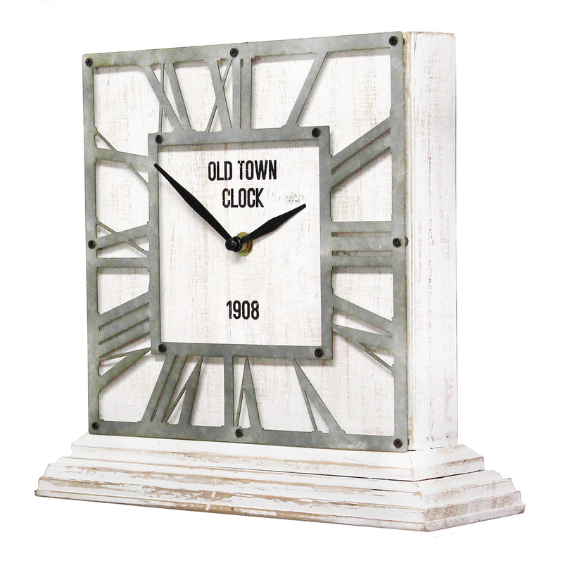 Distressed White Table Top Clock