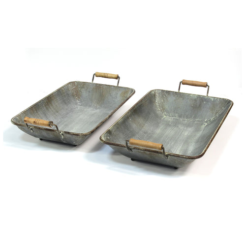 Stratton Home Decor Set of 2 Distressed Metal Trays